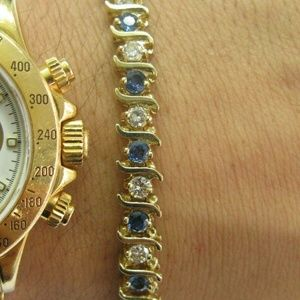 Jewelry - Ceylon Sapphire Diamond Yellow Gold Tennis Bracele